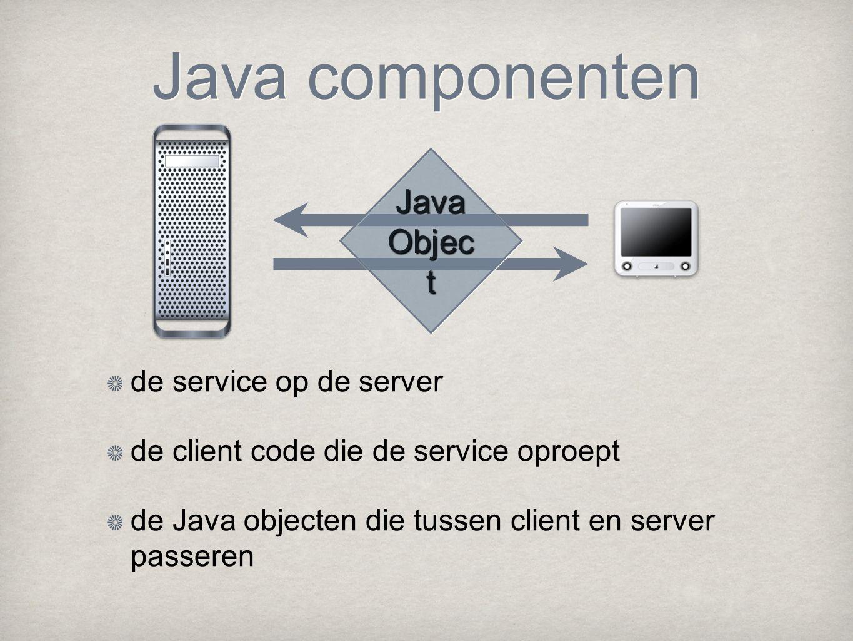 Java componenten de service op de server de client code die de service oproept de Java objecten die tussen client en server passeren Java Objec t