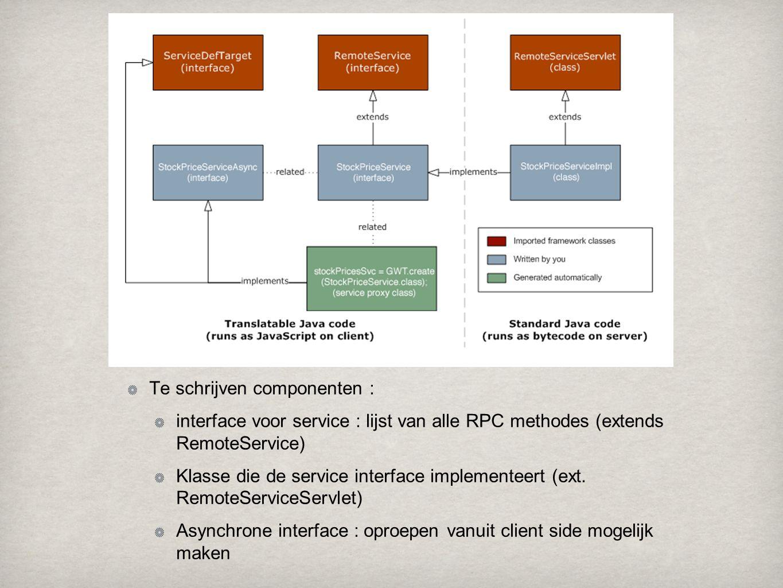 Te schrijven componenten : interface voor service : lijst van alle RPC methodes (extends RemoteService) Klasse die de service interface implementeert