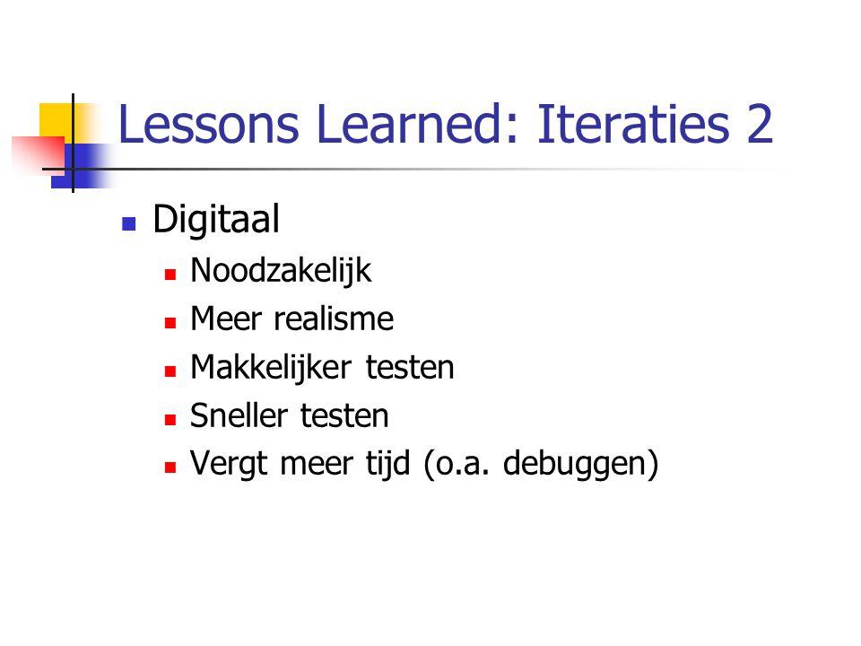 Lessons Learned: Iteraties 2 Digitaal Noodzakelijk Meer realisme Makkelijker testen Sneller testen Vergt meer tijd (o.a.