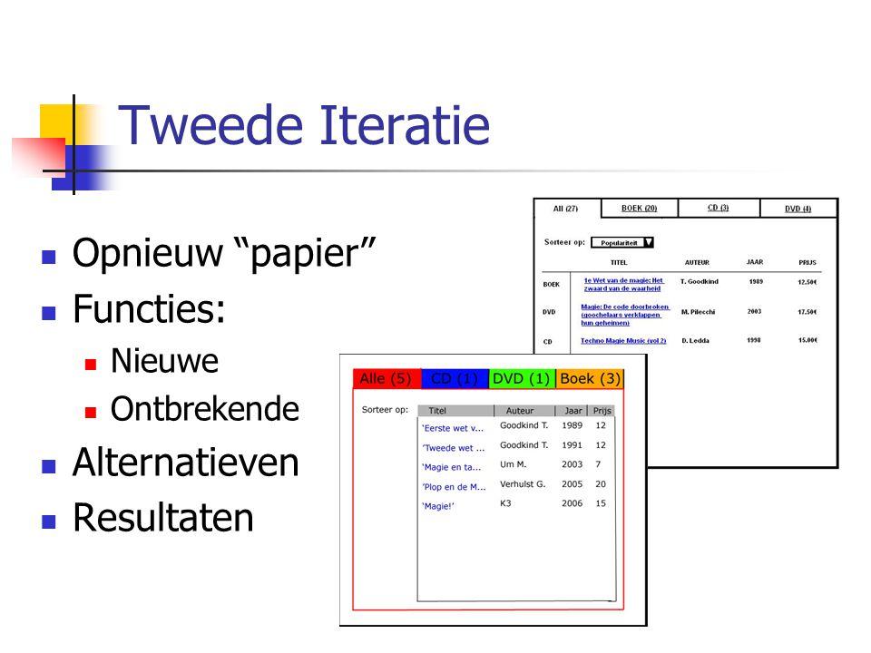 Tweede Iteratie Opnieuw papier Functies: Nieuwe Ontbrekende Alternatieven Resultaten