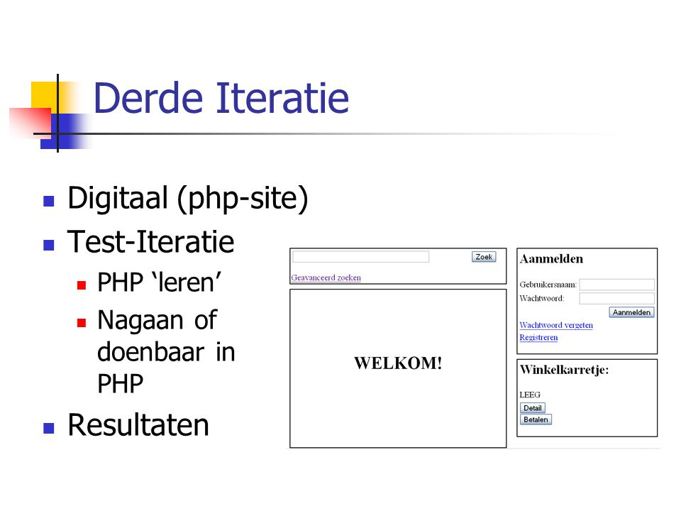 Derde Iteratie Digitaal (php-site) Test-Iteratie PHP 'leren' Nagaan of doenbaar in PHP Resultaten