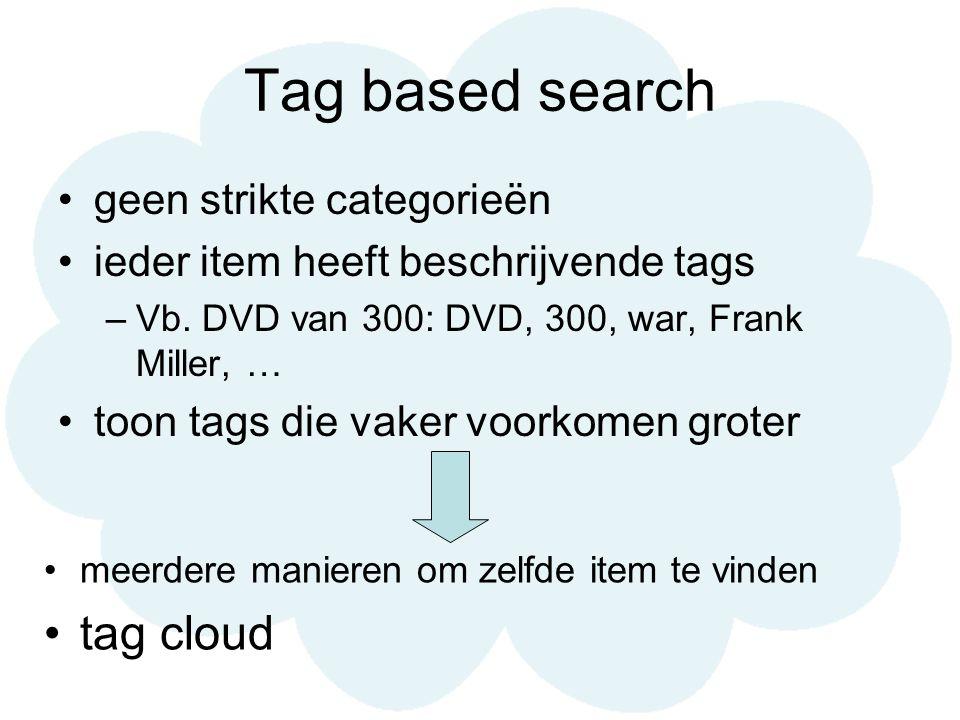 Tag based search geen strikte categorieën ieder item heeft beschrijvende tags –Vb. DVD van 300: DVD, 300, war, Frank Miller, … toon tags die vaker voo