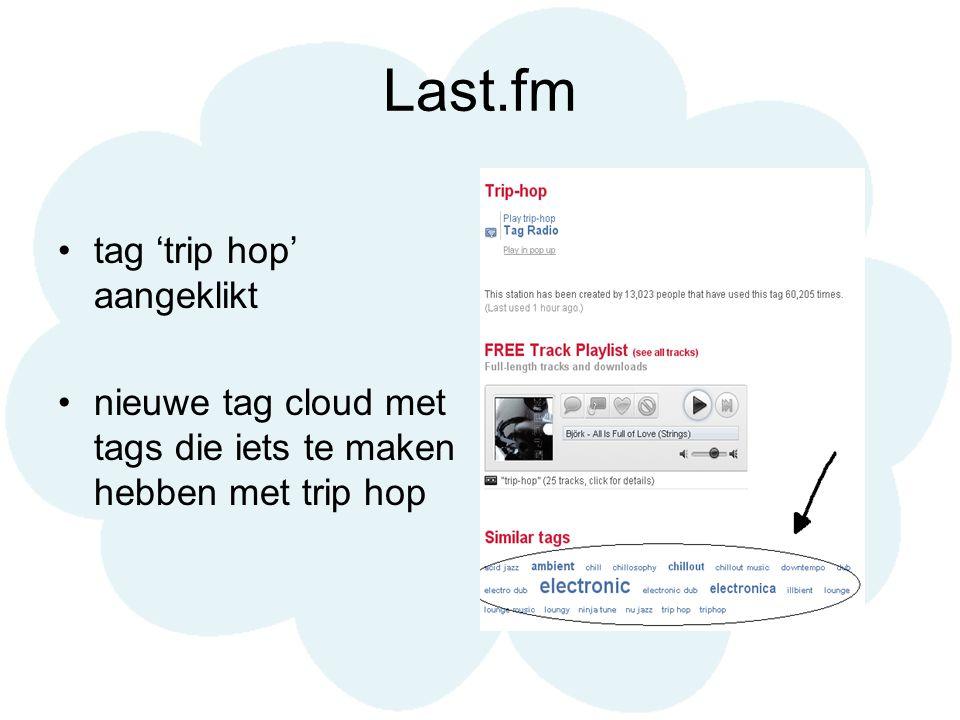 Last.fm tag 'trip hop' aangeklikt nieuwe tag cloud met tags die iets te maken hebben met trip hop