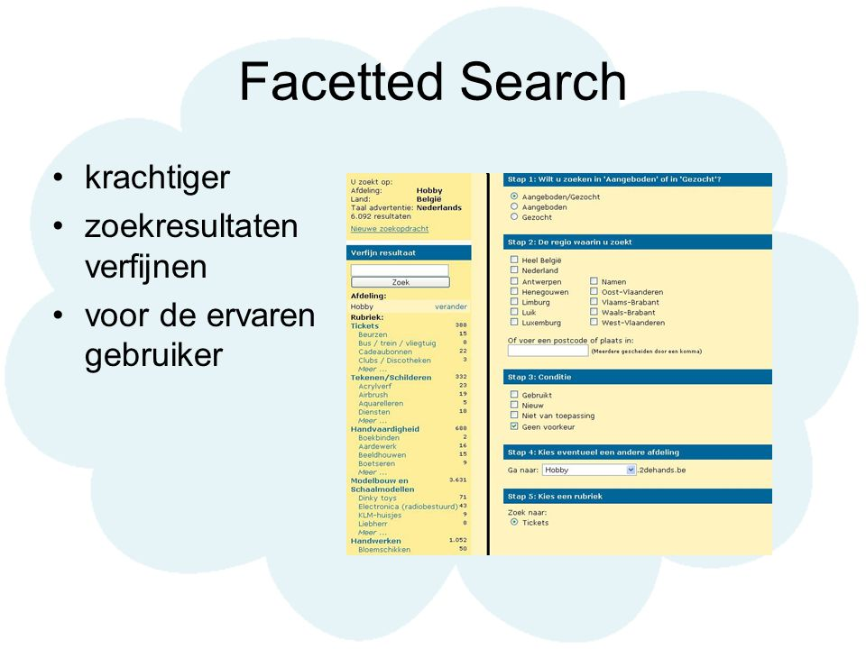 Gevaren Uit eerste think alouds [2dehands.be] : Category based search kan handig zijn Maar niet altijd even duidelijk voor nieuwe gebruiker Facetted search aanbieden op zo'n manier dat: Een nieuwe gebruiker zich niet zo voelt