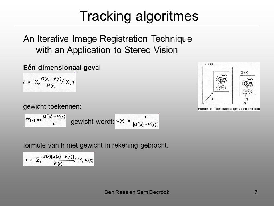 Ben Raes en Sam Decrock7 Tracking algoritmes An Iterative Image Registration Technique with an Application to Stereo Vision Eén-dimensionaal geval gewicht toekennen: gewicht wordt: formule van h met gewicht in rekening gebracht: