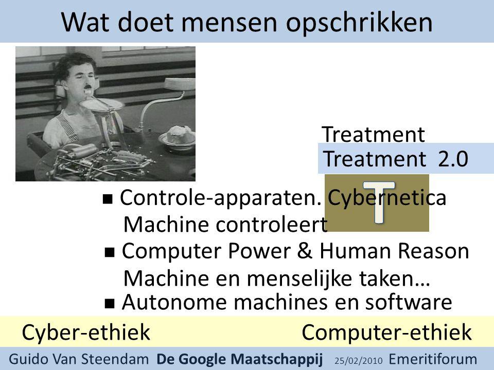 Guido Van Steendam De Google Maatschappij 25/02/2010 Emeritiforum Wat doet mensen opschrikken Treatment Controle-apparaten.