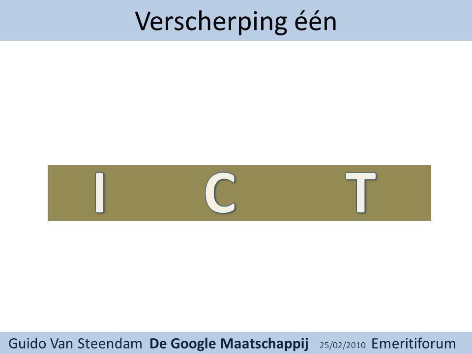 Guido Van Steendam De Google Maatschappij 25/02/2010 Emeritiforum Verscherping één