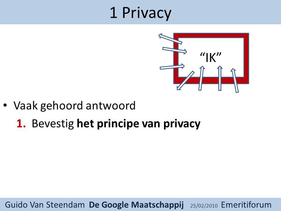 Guido Van Steendam De Google Maatschappij 25/02/2010 Emeritiforum 1 Privacy Vaak gehoord antwoord 1.