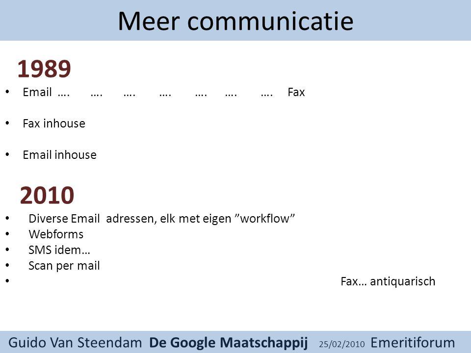 Guido Van Steendam De Google Maatschappij 25/02/2010 Emeritiforum Meer communicatie 1989 Email ….