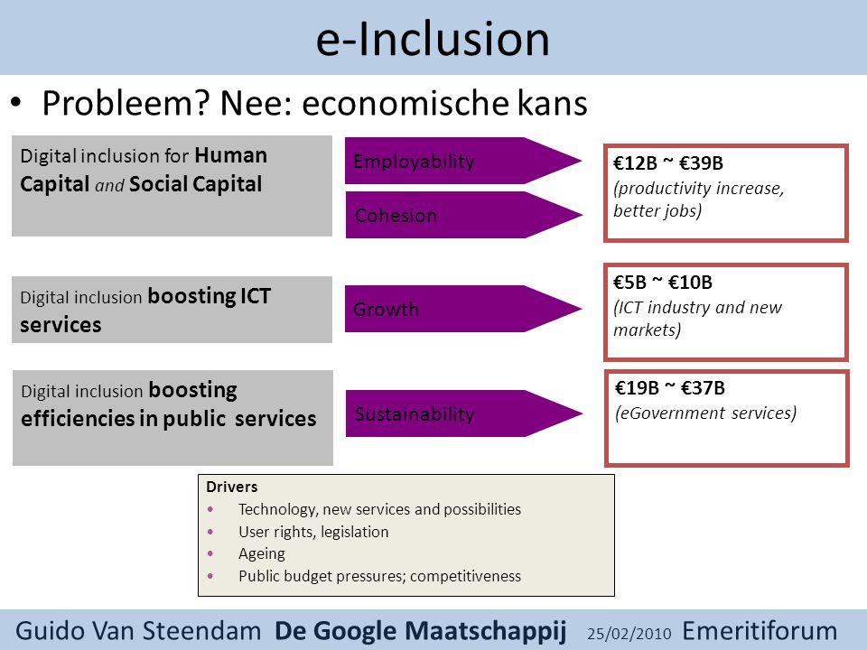 Guido Van Steendam De Google Maatschappij 25/02/2010 Emeritiforum e-Inclusion Probleem.