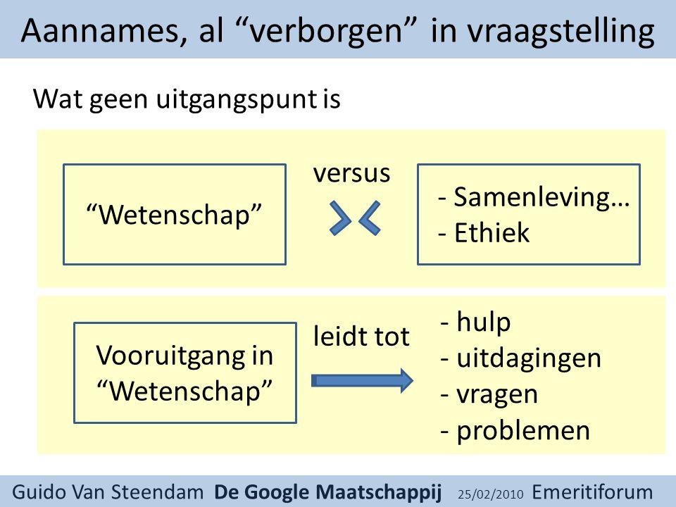 Guido Van Steendam De Google Maatschappij 25/02/2010 Emeritiforum Hoe proberen we daarmee om te gaan.