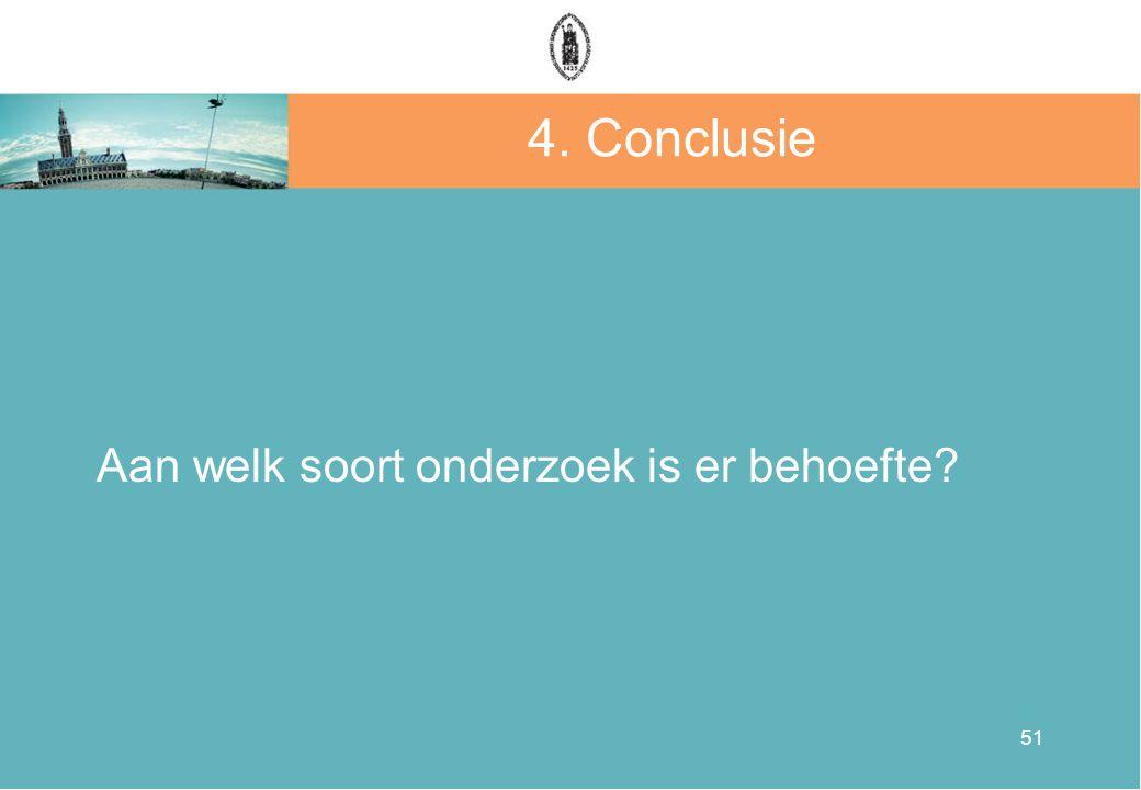 51 4. Conclusie Aan welk soort onderzoek is er behoefte?