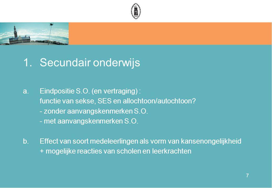 7 1.Secundair onderwijs a.Eindpositie S.O.