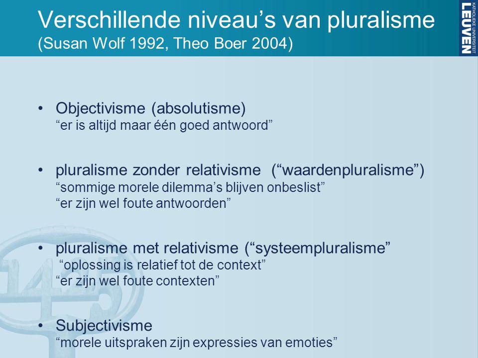 Verschillende niveau's van pluralisme (Susan Wolf 1992, Theo Boer 2004) Objectivisme (absolutisme) er is altijd maar één goed antwoord pluralisme zonder relativisme ( waardenpluralisme ) sommige morele dilemma's blijven onbeslist er zijn wel foute antwoorden pluralisme met relativisme ( systeempluralisme oplossing is relatief tot de context er zijn wel foute contexten Subjectivisme morele uitspraken zijn expressies van emoties