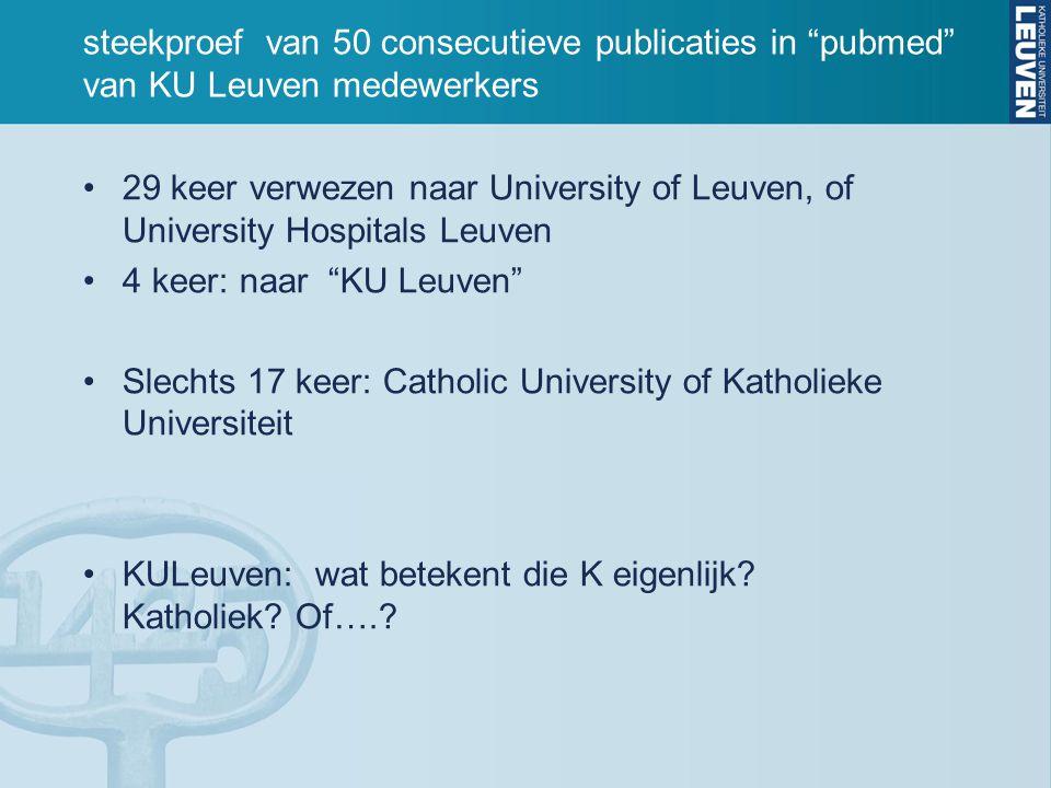 steekproef van 50 consecutieve publicaties in pubmed van KU Leuven medewerkers 29 keer verwezen naar University of Leuven, of University Hospitals Leuven 4 keer: naar KU Leuven Slechts 17 keer: Catholic University of Katholieke Universiteit KULeuven: wat betekent die K eigenlijk.