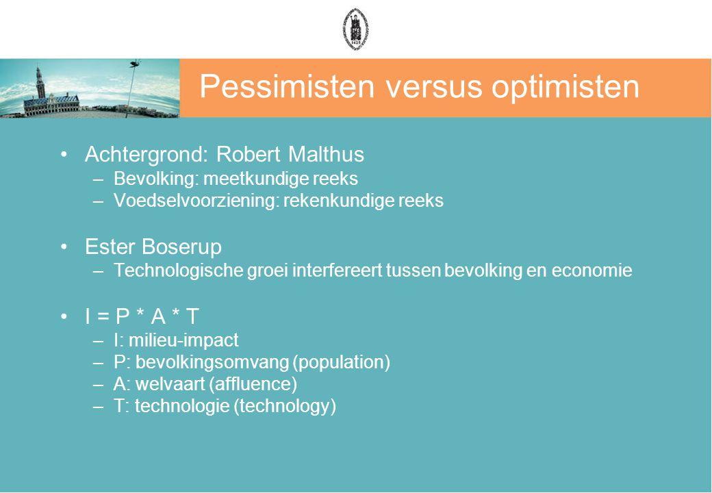 Pessimisten versus optimisten Achtergrond: Robert Malthus –Bevolking: meetkundige reeks –Voedselvoorziening: rekenkundige reeks Ester Boserup –Technol