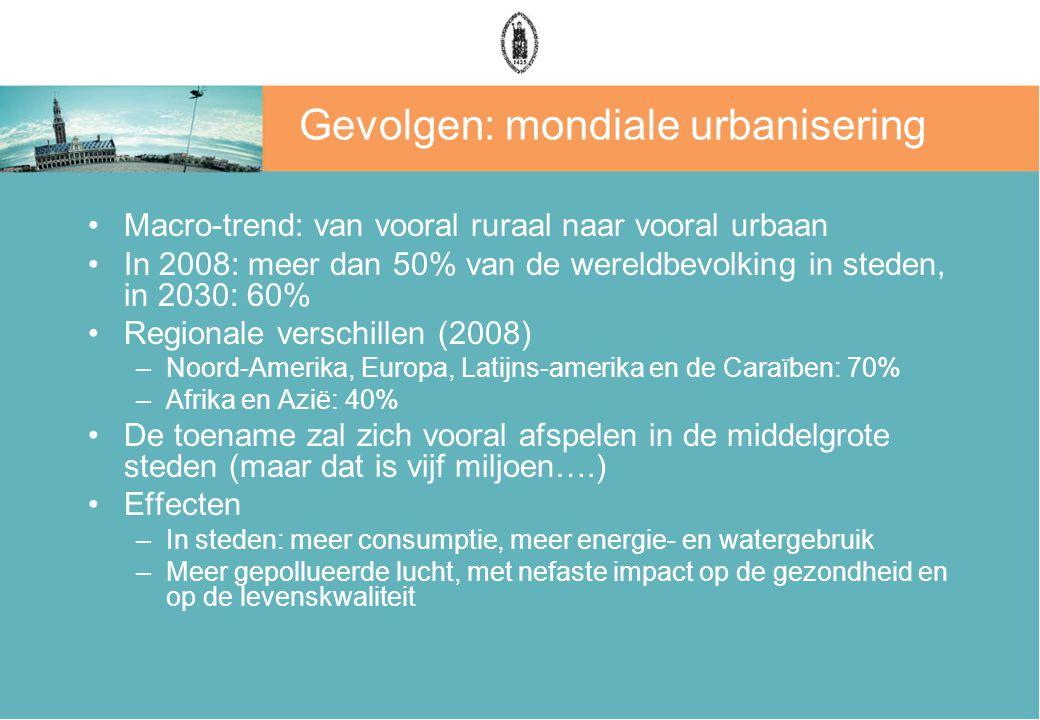 Gevolgen: mondiale urbanisering Macro-trend: van vooral ruraal naar vooral urbaan In 2008: meer dan 50% van de wereldbevolking in steden, in 2030: 60%