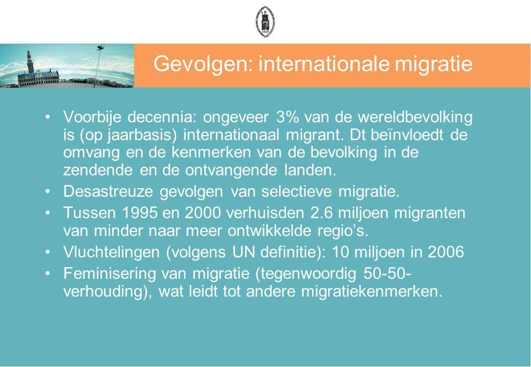 Gevolgen: internationale migratie Voorbije decennia: ongeveer 3% van de wereldbevolking is (op jaarbasis) internationaal migrant. Dt beïnvloedt de omv