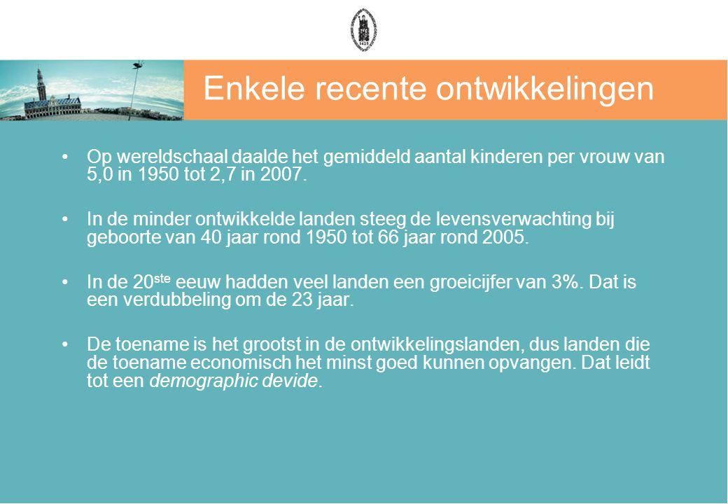 Enkele recente ontwikkelingen Op wereldschaal daalde het gemiddeld aantal kinderen per vrouw van 5,0 in 1950 tot 2,7 in 2007. In de minder ontwikkelde