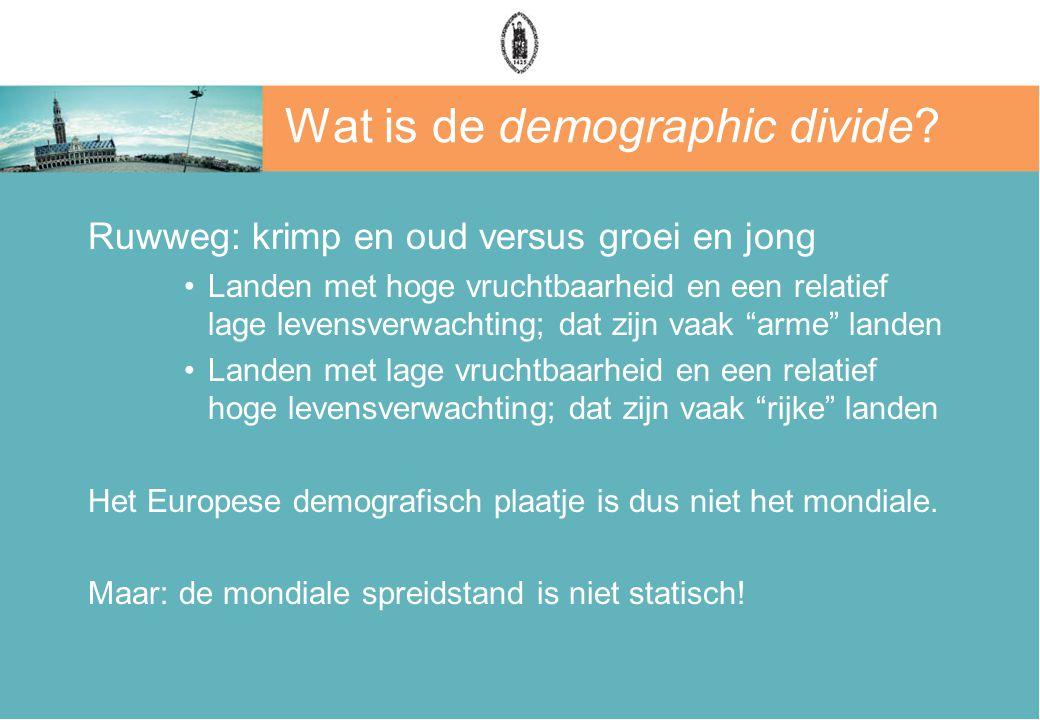 Wat is de demographic divide? Ruwweg: krimp en oud versus groei en jong Landen met hoge vruchtbaarheid en een relatief lage levensverwachting; dat zij