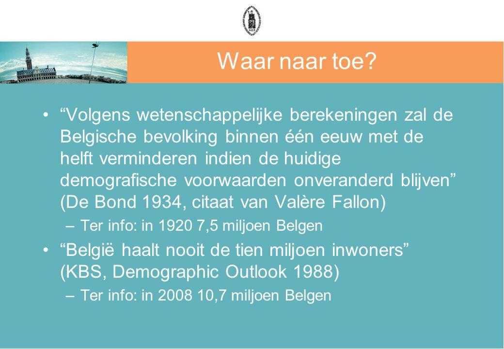 """Waar naar toe? """"Volgens wetenschappelijke berekeningen zal de Belgische bevolking binnen één eeuw met de helft verminderen indien de huidige demografi"""