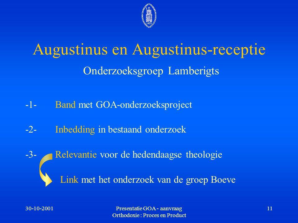 30-10-2001Presentatie GOA - aanvraag Orthodoxie : Proces en Product 11 Augustinus en Augustinus-receptie Onderzoeksgroep Lamberigts -1-Band met GOA-on
