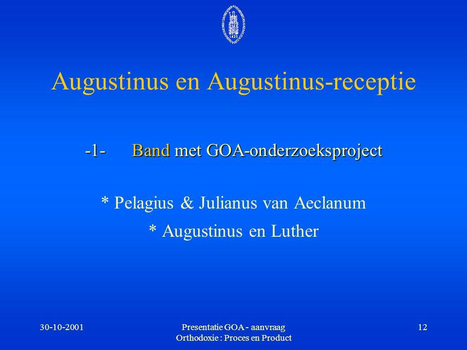 30-10-2001Presentatie GOA - aanvraag Orthodoxie : Proces en Product 12 Augustinus en Augustinus-receptie -1-Band met GOA-onderzoeksproject * Pelagius