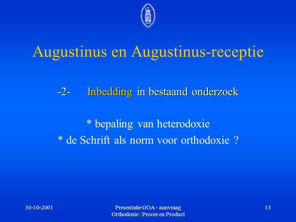 30-10-2001Presentatie GOA - aanvraag Orthodoxie : Proces en Product 13 -2-Inbedding in bestaand onderzoek * bepaling van heterodoxie * de Schrift als