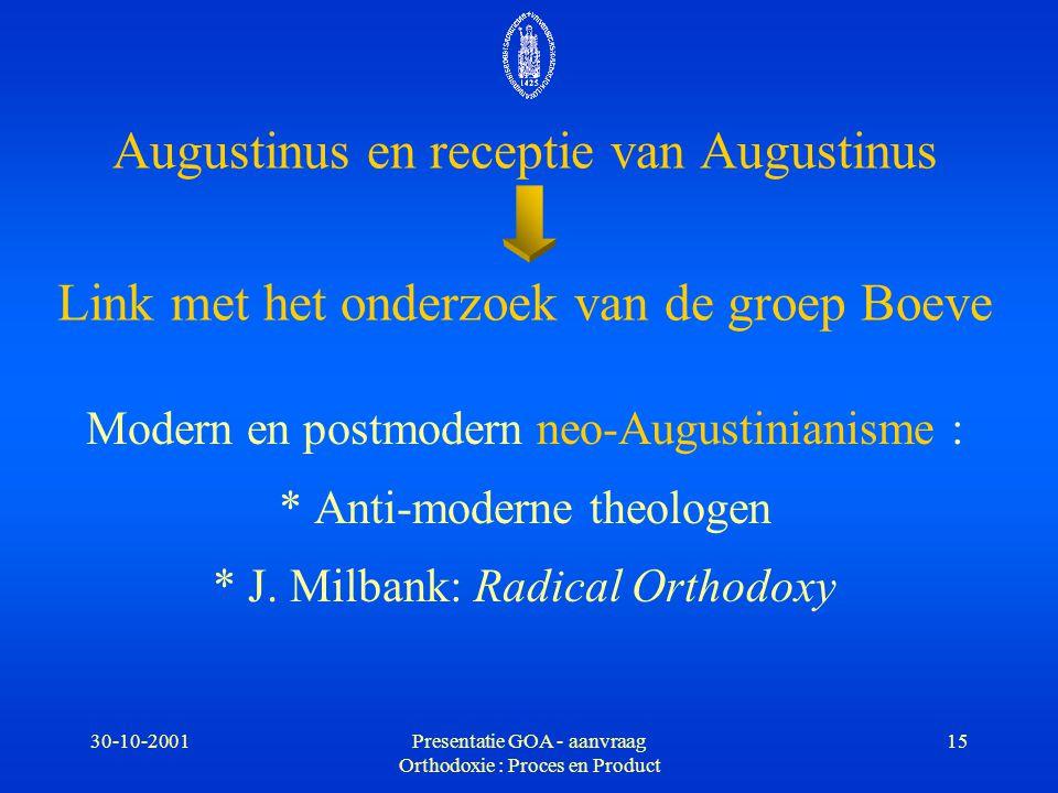30-10-2001Presentatie GOA - aanvraag Orthodoxie : Proces en Product 15 Augustinus en receptie van Augustinus Link met het onderzoek van de groep Boeve