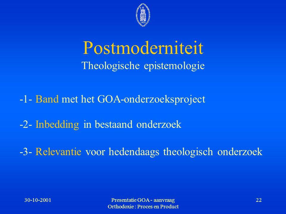 30-10-2001Presentatie GOA - aanvraag Orthodoxie : Proces en Product 22 Postmoderniteit Theologische epistemologie -1- Band met het GOA-onderzoeksproje