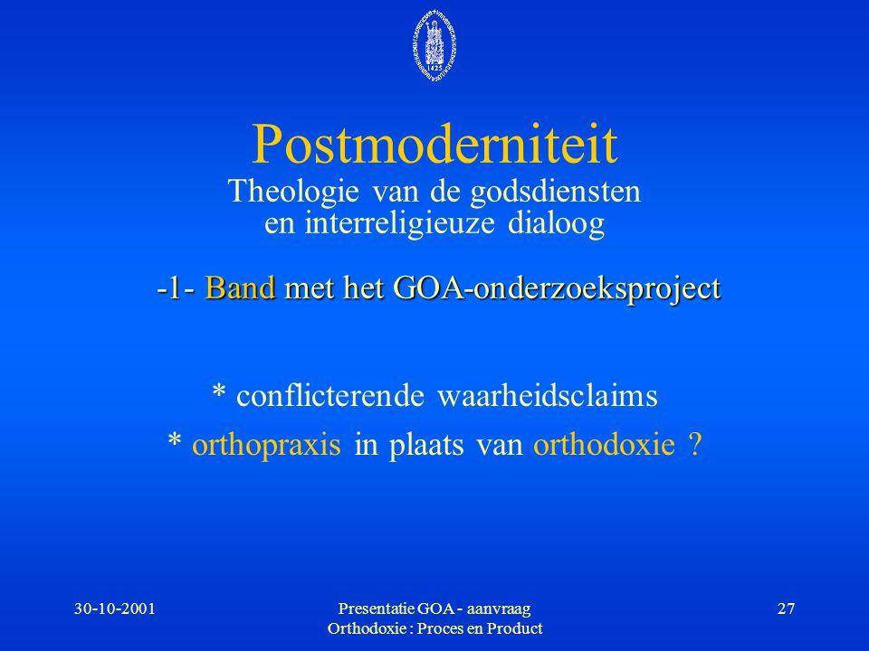 30-10-2001Presentatie GOA - aanvraag Orthodoxie : Proces en Product 27 -1- Band met het GOA-onderzoeksproject Postmoderniteit Theologie van de godsdie