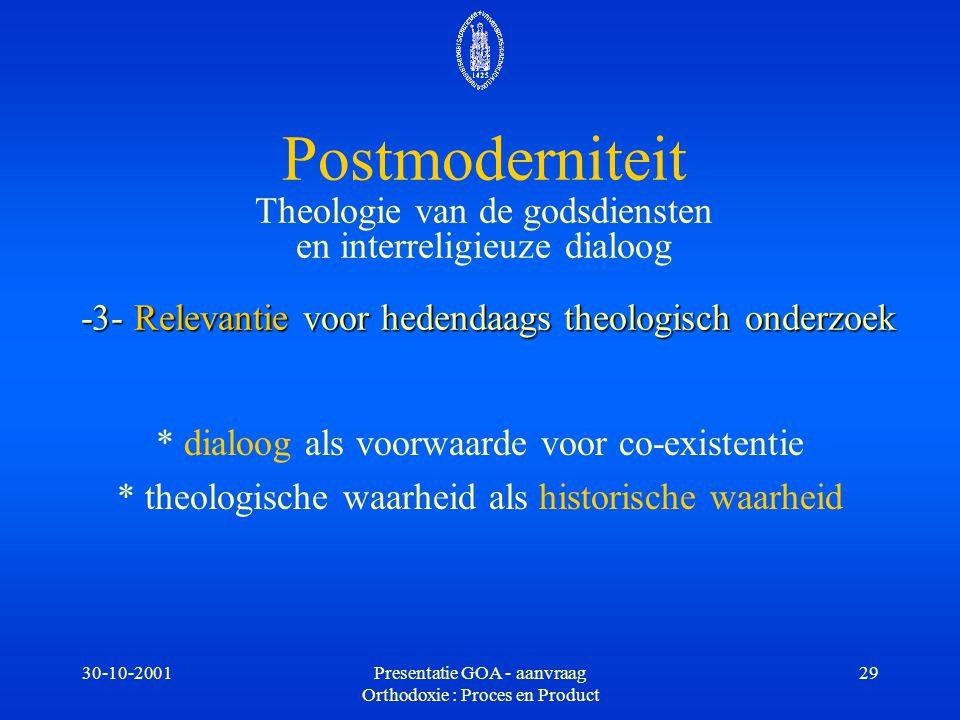 30-10-2001Presentatie GOA - aanvraag Orthodoxie : Proces en Product 29 -3- Relevantie voor hedendaags theologisch onderzoek Postmoderniteit Theologie