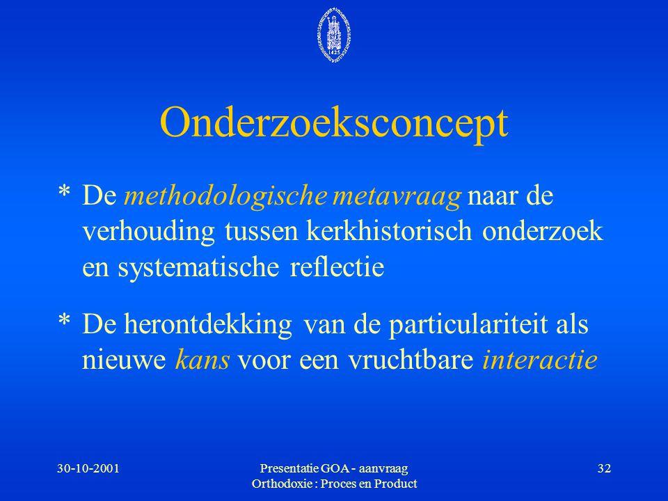 30-10-2001Presentatie GOA - aanvraag Orthodoxie : Proces en Product 32 Onderzoeksconcept *De methodologische metavraag naar de verhouding tussen kerkh