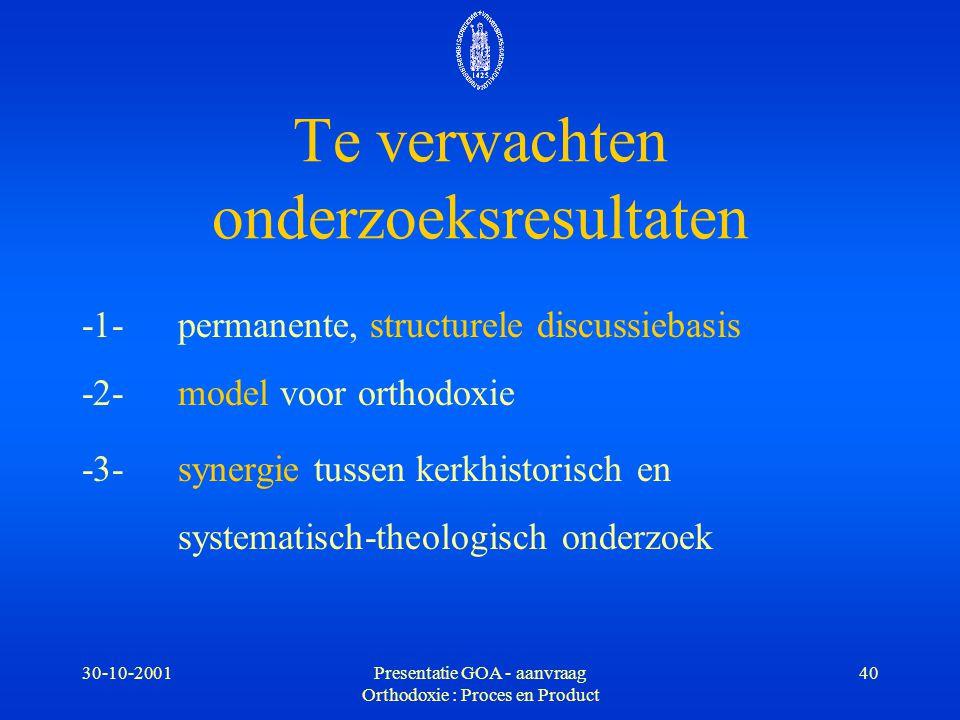 30-10-2001Presentatie GOA - aanvraag Orthodoxie : Proces en Product 40 -1-permanente, structurele discussiebasis -2- model voor orthodoxie -3- synergi