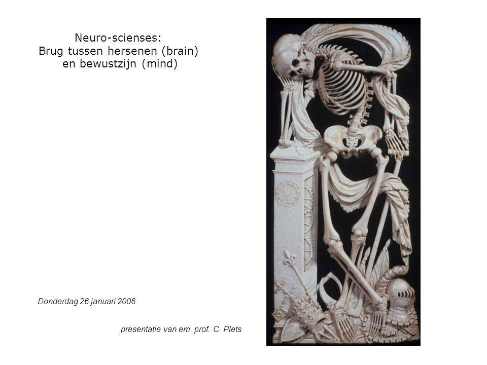 Neuro-scienses: Brug tussen hersenen (brain) en bewustzijn (mind) Donderdag 26 januari 2006 presentatie van em.