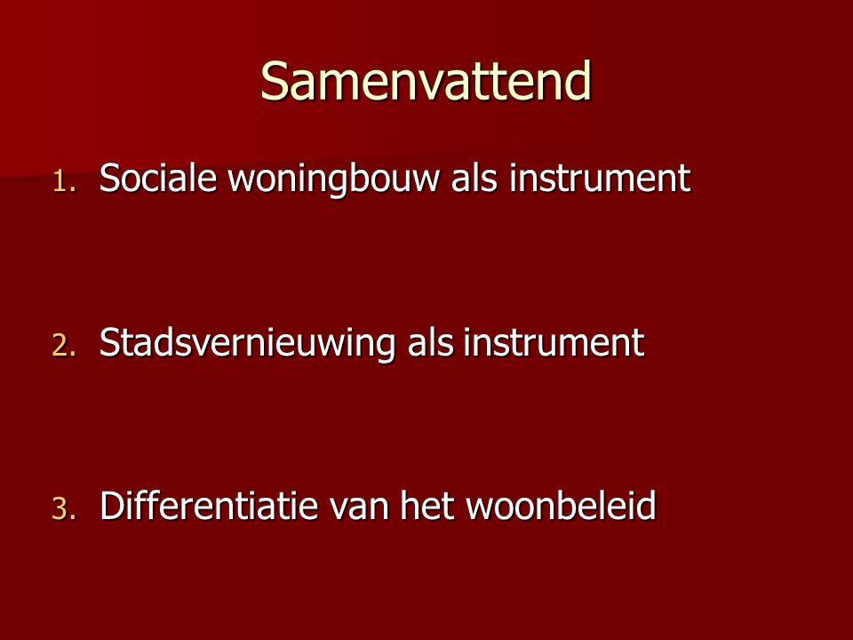 Samenvattend 1. Sociale woningbouw als instrument 2.