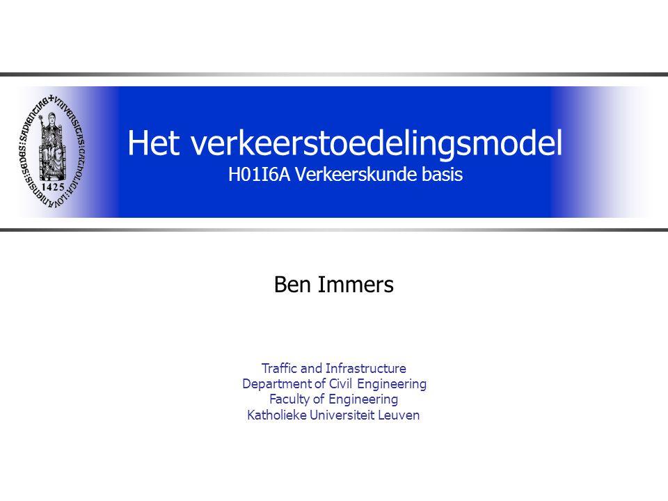 H01I6A Verkeerskunde basis72 Evenwichtstoedeling  Evenwicht in netwerk wordt berekend als een minimalisatievraagstuk (Gebruikersoptimum) (zelfzuchtig, beschrijvend) (Systeemoptimum) (sociaal, normatief) met als randvoorwaarden  behoud van ritten  Niet-negativiteit