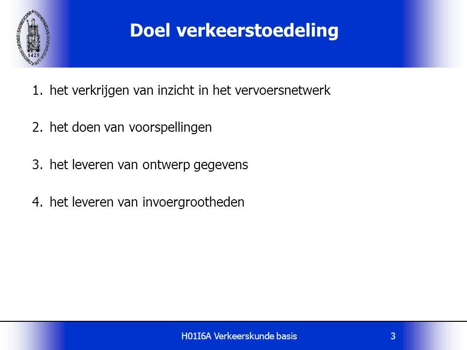 H01I6A Verkeerskunde basis44 Voorbeeld van Dijkstra algoritme Zie ook www voor aardige illustraties, bijv.
