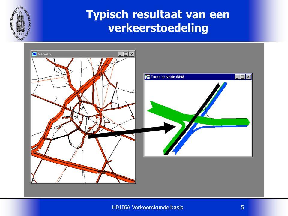 H01I6A Verkeerskunde basis66 Multiple Route model Stochastisch toedelingsmodel  elke reiziger kiest kortste route, echter:  geen perfecte kennis van reistijden  elke reiziger maakt subjectieve schatting de route-reistijd  kansdichtheidsfuncties route-reistijden  q 1 = Q  Pr (t 1 e < t 2 e )  q 1 = belasting route 1  Q = aantal ritten van H(i) naar B(j)  t i e = schatting reistijd route i t1t1 t2t2 σ2σ2 σ1σ1 t f i j t1t1 t2t2