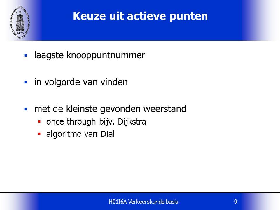 H01I6A Verkeerskunde basis10 Inefficiënt keuzeproces Pad 1 Pad 2 j i Stel: Route via pad 2 is korter dan route via pad 1