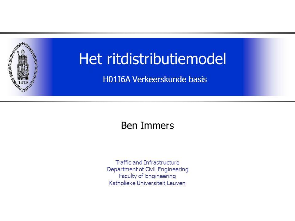 H01I6A Verkeerskunde basis2 Het klassieke verkeersprognosemodel Gebieds- gegevens Ritproductie/ ritattractie Vervoersstromen Trip-ends Verplaatsings- weerstanden H-B tabellen Distributie/ vervoerwijzekeuze Toedeling Transport netwerken