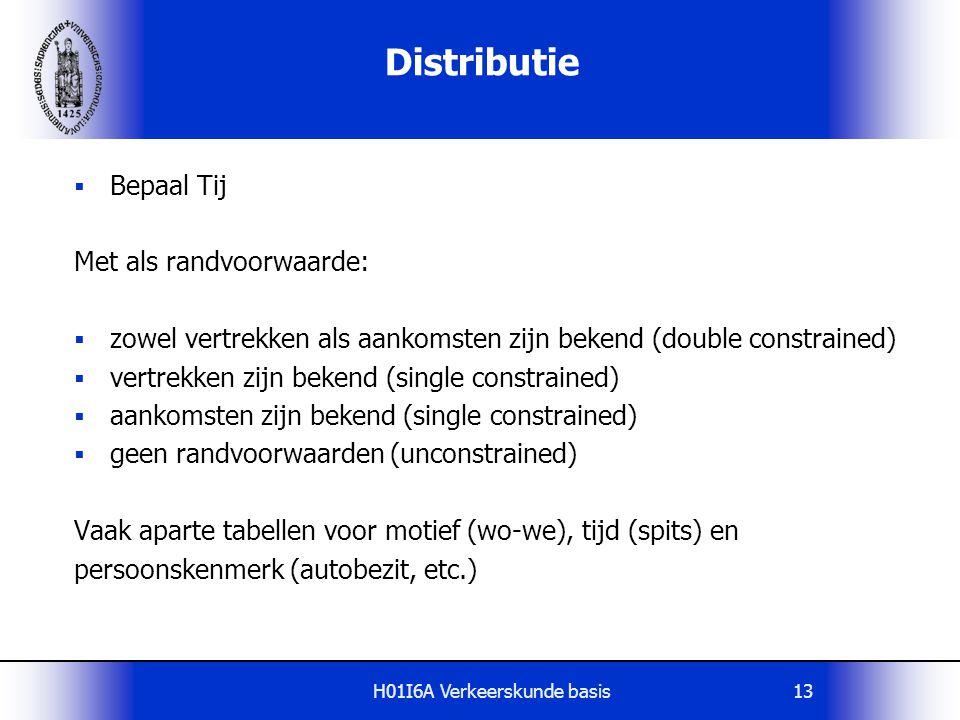 H01I6A Verkeerskunde basis13 Distributie  Bepaal Tij Met als randvoorwaarde:  zowel vertrekken als aankomsten zijn bekend (double constrained)  ver