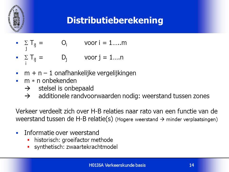 H01I6A Verkeerskunde basis14 Distributieberekening   T ij =O i voor i = 1…..m j   T ij =D j voor j = 1….n i  m + n – 1 onafhankelijke vergelijkin