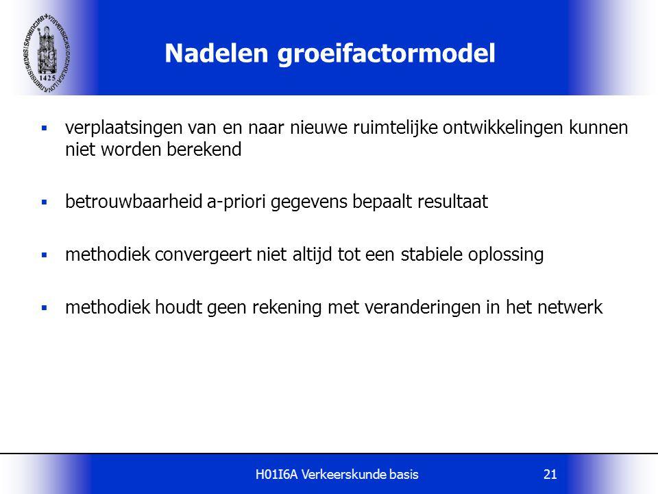 H01I6A Verkeerskunde basis21 Nadelen groeifactormodel  verplaatsingen van en naar nieuwe ruimtelijke ontwikkelingen kunnen niet worden berekend  bet
