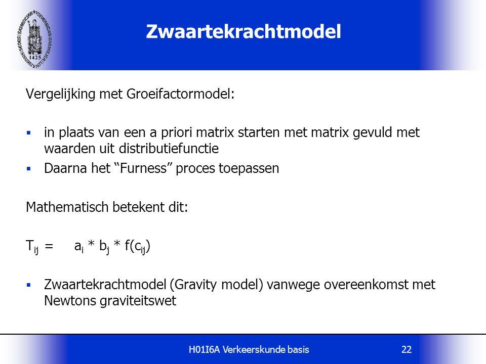H01I6A Verkeerskunde basis22 Zwaartekrachtmodel Vergelijking met Groeifactormodel:  in plaats van een a priori matrix starten met matrix gevuld met w