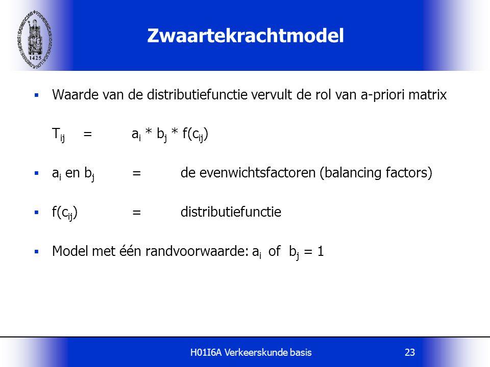 H01I6A Verkeerskunde basis24 Distributiefunctie  De distributiefunctie geeft weer: De bereidheid tot het maken van een verplaatsing als functie van de weerstand Mathematische vorm:  exponentiele functie  machtsfunctie  combinatie exponent en machtsfunctie  functiewaarden in tabel Bijv.f(c ij )=c ij - .