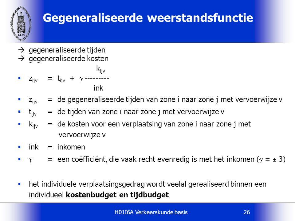 H01I6A Verkeerskunde basis26 Gegeneraliseerde weerstandsfunctie  gegeneraliseerde tijden  gegeneraliseerde kosten k ijv  z ijv = t ijv +  --------