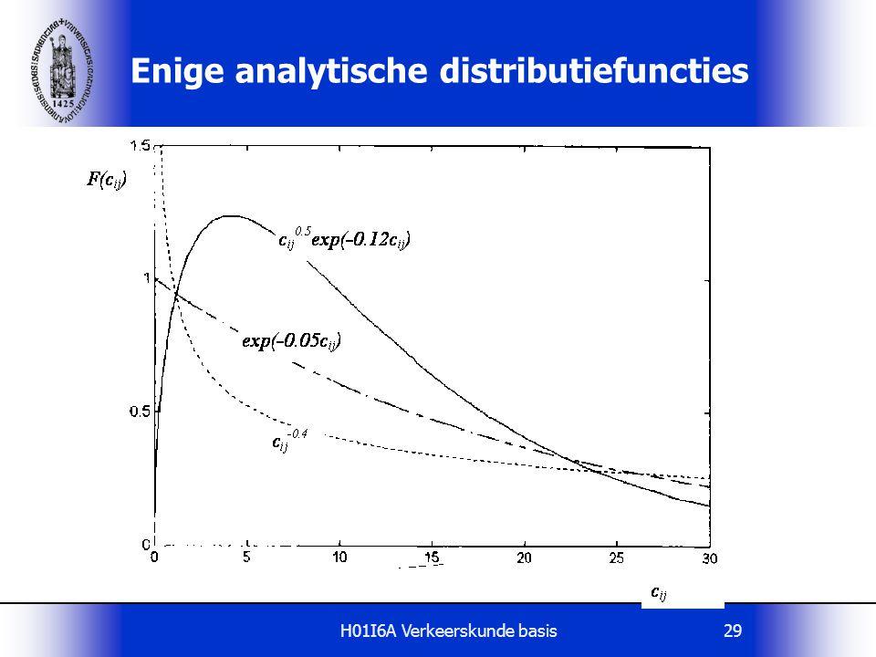 H01I6A Verkeerskunde basis29 Enige analytische distributiefuncties