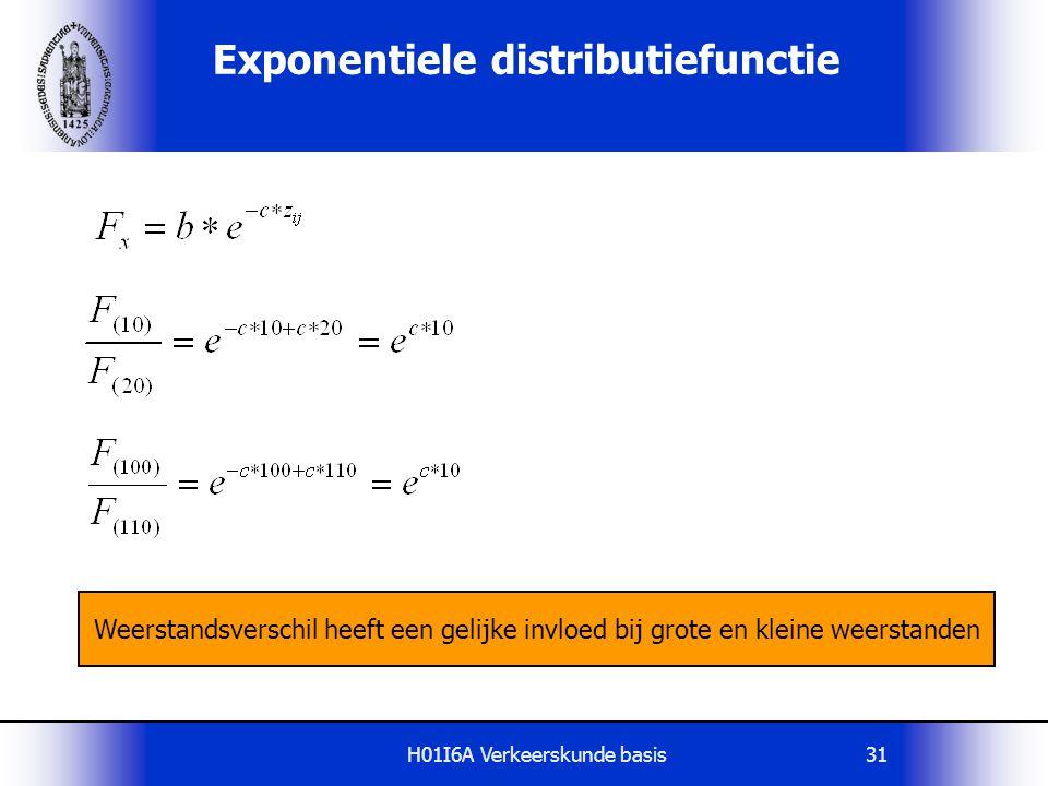 H01I6A Verkeerskunde basis31 Exponentiele distributiefunctie Weerstandsverschil heeft een gelijke invloed bij grote en kleine weerstanden