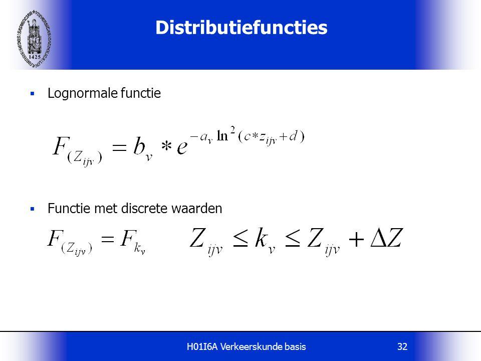 H01I6A Verkeerskunde basis32  Lognormale functie  Functie met discrete waarden Distributiefuncties